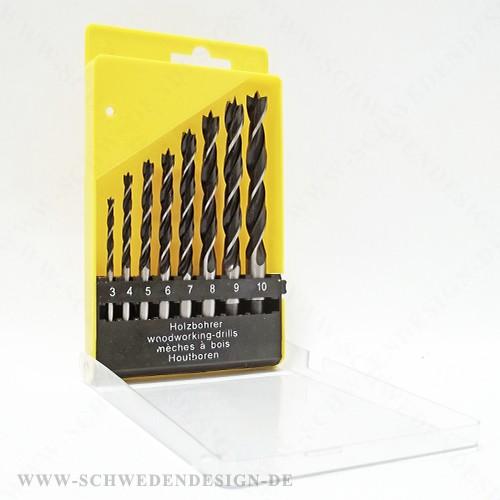 3, 4, 5, 6, 7, 8, 9, 10 mm Holzbohrer Set 8 tlg CV Stahl Box